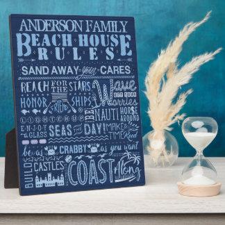 ビーチハウスは沿岸青くカスタムな姓を支配します フォトプラーク