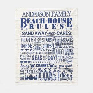 ビーチハウスは沿岸青く名前入りな家族を支配します フリースブランケット