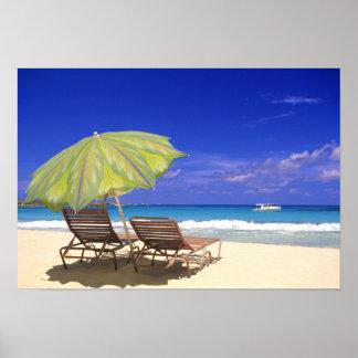 ビーチパラソル、Abaco、バハマ ポスター