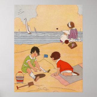 ビーチポスターで遊んでいる子供 ポスター