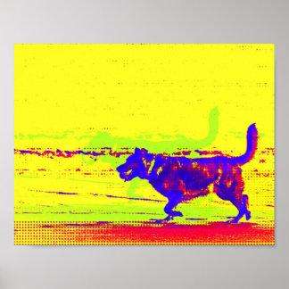 ビーチポスターのポップアート犬 ポスター