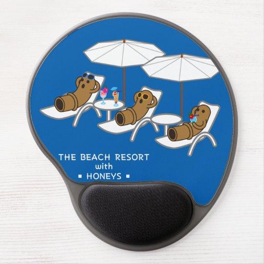 【ビーチリゾートはにーず(文字白)】 HANIWAs in Beach (white-text) ジェルマウスパッド