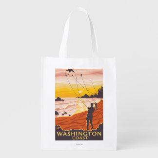 ビーチ及び凧-ワシントン州の海岸 エコバッグ