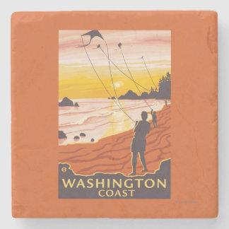 ビーチ及び凧-ワシントン州の海岸 ストーンコースター