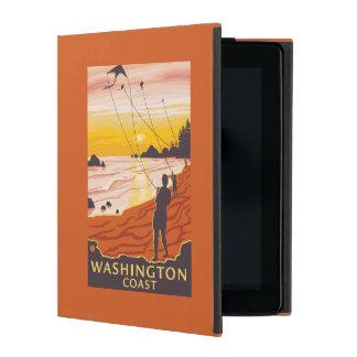 ビーチ及び凧-ワシントン州の海岸 iPad ケース