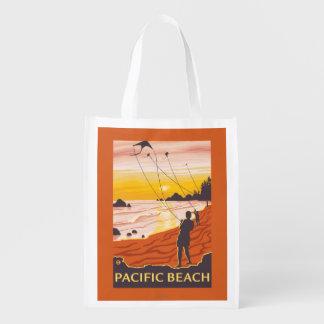 ビーチ及び凧-太平洋のビーチ、ワシントン州 エコバッグ