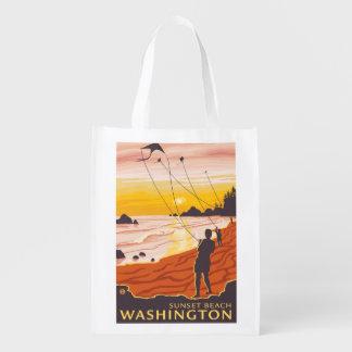 ビーチ及び凧-日没のビーチ、ワシントン州 エコバッグ
