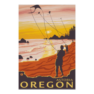ビーチ及び凧- Astoria、オレゴン ポスター