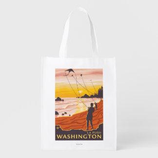 ビーチ及び凧- La押し、ワシントン州 エコバッグ