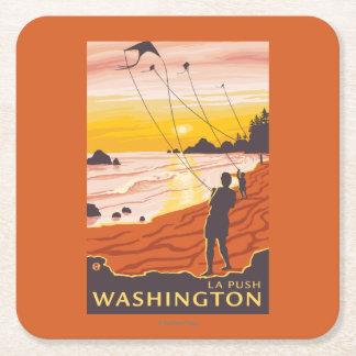 ビーチ及び凧- La押し、ワシントン州 スクエアペーパーコースター