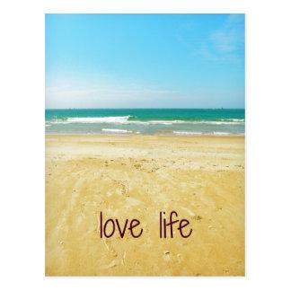 ビーチ場面の愛生命引用文 ポストカード