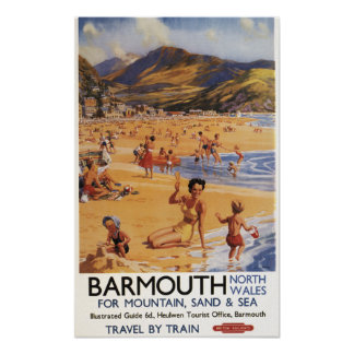 ビーチ場面母および子供の英国国鉄 ポスター