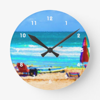 ビーチ場面絵画的な椅子のサーフボードの傘 ラウンド壁時計
