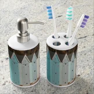 ビーチ小屋の歯ブラシのホールダーおよび石鹸ディスペンサー バスセット