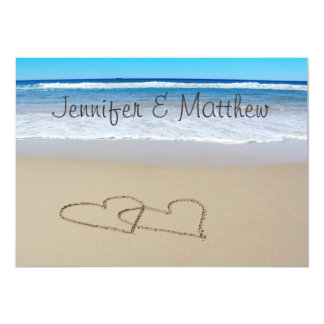 ビーチ愛ハートの結婚式招待状 カード