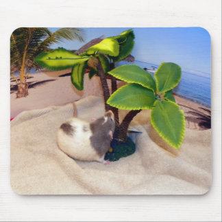 ビーチ日のおもしろいペットラットのマウスパッド マウスパッド