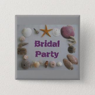 ビーチ結婚式かブライダルパーティ 5.1CM 正方形バッジ