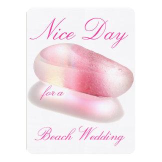 ビーチ結婚式のための天気の良い日-ピンク カード