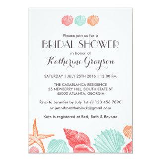 ビーチ結婚式のための白い貝殻の招待状 カード