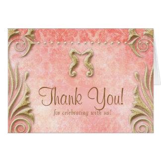ビーチ結婚式のサンキューカードのタツノオトシゴの珊瑚の金ゴールド ノートカード
