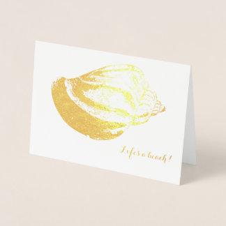 ビーチ結婚式のサンキューカードの金ゴールドホイルの貝 箔カード