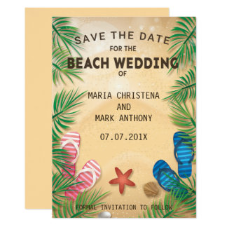 ビーチ結婚式のセーブ・ザ・デート案内 カード