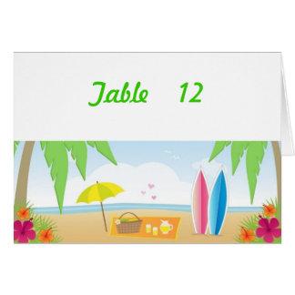 ビーチ結婚式のテーマのテーブル数カード#2 カード