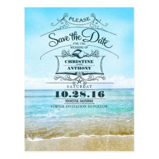 ビーチ結婚式のレトロの保存日付の郵便はがき ポストカード