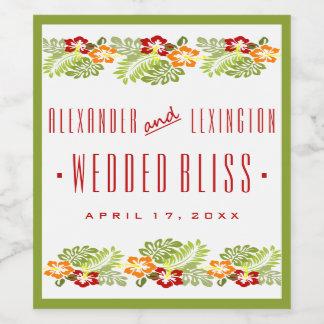 ビーチ結婚式のワインのラベルのハイビスカスの花 ワインラベル