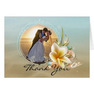 ビーチ結婚式の写真のサンキューカード カード