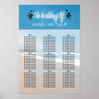 ビーチ結婚式の座席の図表 ポスター