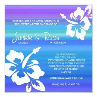 ビーチ結婚式の招待状のハイビスカスの青い紫色 13.3 スクエアインビテーションカード