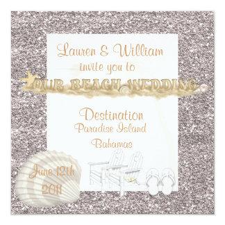ビーチ結婚式の招待状の水晶の砂 カード
