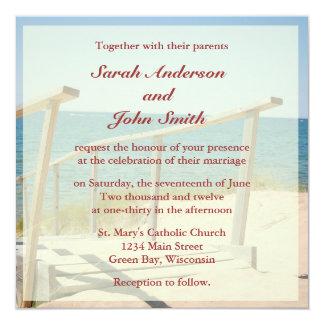 ビーチ結婚式の正方形の招待状-ビーチの階段 カード