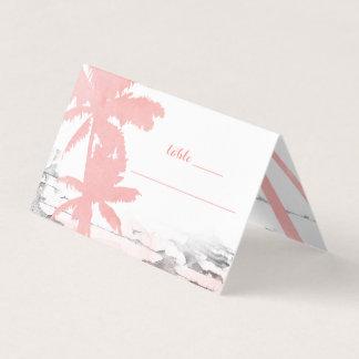 ビーチ結婚式の珊瑚のヤシの木木座席表 プレイスカード