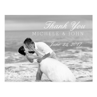 ビーチ結婚式の白黒キスはまたは感謝していしています ポストカード