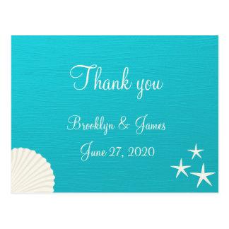 ビーチ結婚式の貝は郵便はがき感謝していしています ポストカード