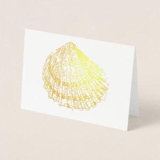 ビーチ結婚式の貝カード金ゴールドホイルの婚約カード 箔カード