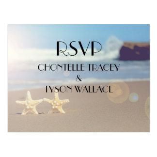 ビーチ結婚式のrsvpの郵便はがき ポストカード