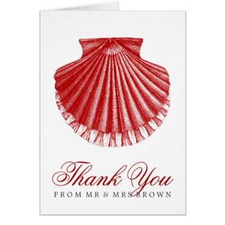 ビーチ結婚式は帆立貝貝の赤感謝していしています カード