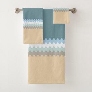 ビーチ色の薄茶の砂のベージュ青緑 バスタオルセット
