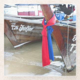 ビーチ|のファイのファイの島、タイのボート ガラスコースター