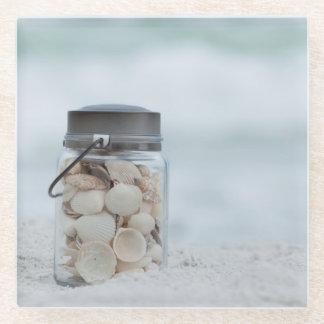 ビーチ|フロリダの貝殻の瓶 ガラスコースター