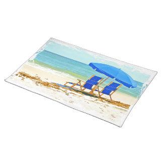 ビーチ、傘、海及び椅子 ランチョンマット