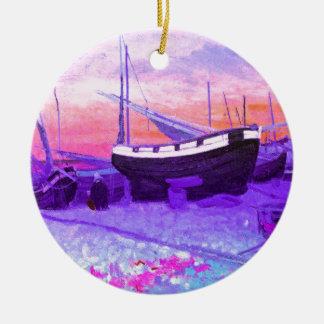 ビーチ、日没、花、ボート セラミックオーナメント