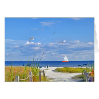 ビーチ、海およびヨットカード カード