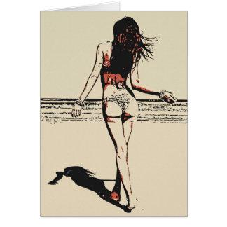 ビーチ、熱いビキニの女の子の芸術的な裸体でセクシー カード