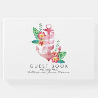 ビーチ-航海のなピンクの花のいかりの結婚式 ゲストブック