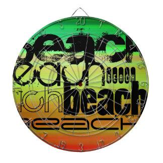 ビーチ; 鮮やかな緑、オレンジ、及び黄色 ダーツボード