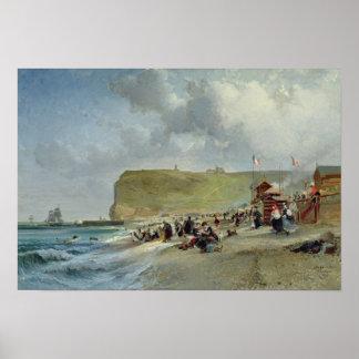 ビーチ、Fecamp 1871年のクリノリン ポスター